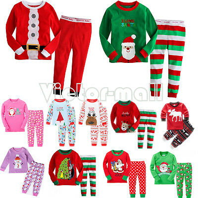 Unisex Kids Boys Girls Sleepwear Pajamas Pyjamas Xmas Night Homewear Outfits Set