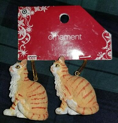 💥New💥 2x ORANGE CATS Ornament Resin Figurine CHRISTMAS Kitty Tabby Kittens