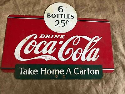 Vintage Drink Coca-Cola Take Home a Carton Double Sided Sales Rack Ad Soda Sign