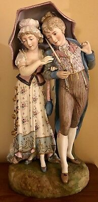 Antique French Vion & Baury Bisque Fiqure Of Lovers Under An Umbrella Rare