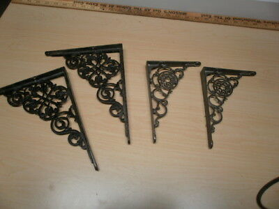 Two Sets Of Antique Iron Wall Brackets