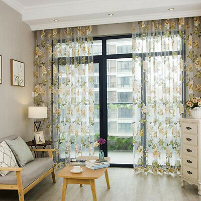 Fashion Floral Tulle Voile Door Window Curtain Drape Panel Sheer Scarf Valances