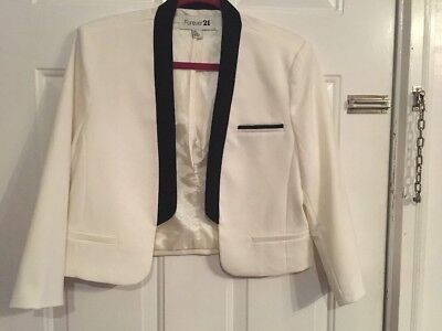 Forever 21 Cropped Black White Tux Jacket Sz L EUC HM urban outfitters