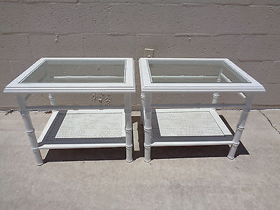 Vtg Pair Of Faux Bamboo Cane Shelf Glass Top Accent End Side Tables Palm Beach