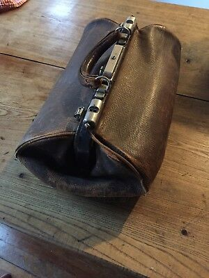 Antique Large Brown Leather Doctor's Medical Bag W/Lining - fair condition c1900
