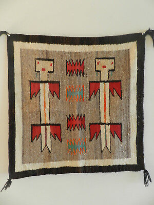 "Antique Navajo Yeibechei Rug Two Figures, Nice Colors, 28""x28"", From Estate!"