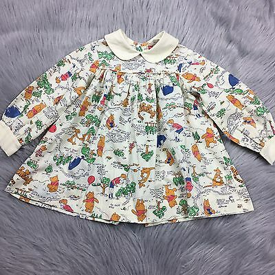 Vintage Sears Winnie The Pooh Disney Toddler Girls Dress Long Sleeve