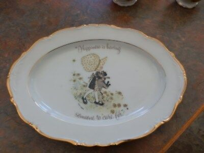 Vintage Holly Hobbie Yellow Girl Platter Happiness Is Having Someone To Care For