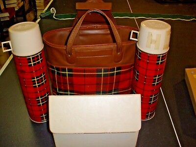 Vintage King Seeley Thermos Red Plaid Picnic Set Vinyl Canvas Tote 2 Bottle