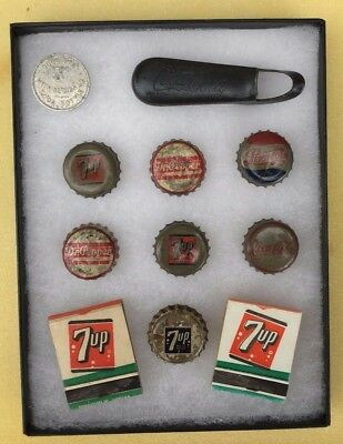 Vinatge Display Case-Soda Coin-Coke Bottle Opener-Pepsi-Dr. Pepper-7up Matches