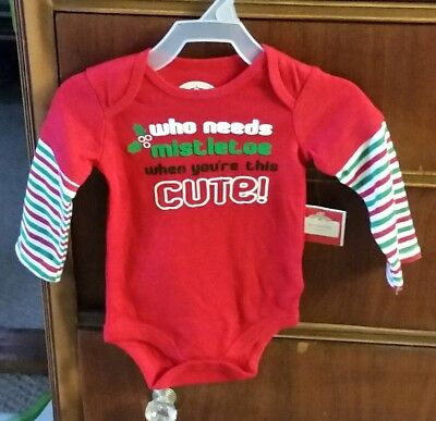 Holiday Time Creeper Unisex Holiday Red  Baby 1-Piece Sleepwear 12 Months