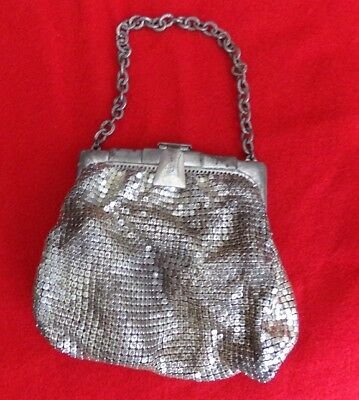 Vintage Whiting and Davis Silver Mesh Art Deco Clutch Bag Purse