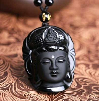 Chinese natural obsidian hand carved Kwan-Yin lucky pendant+Beads Necklace