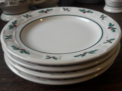 Longaberger USA Traditional HOLLY Bread and Butter Plates (4) Woven