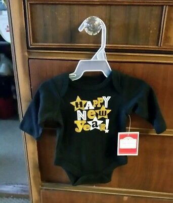 Holiday Time Long Sleeve Creeper Gold White & Black Happy New Year Newborn NWT