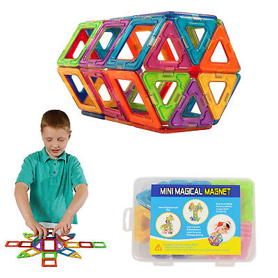 50pcs Magnetic Toy Building Blocks Set 3D Shapes Kids Toys Great Gifts w/ Box US