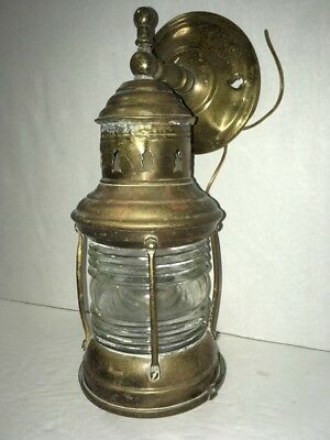 Handsome Vintage Brass Ship Lantern Nautical Maritime Boat Wall Light Electric
