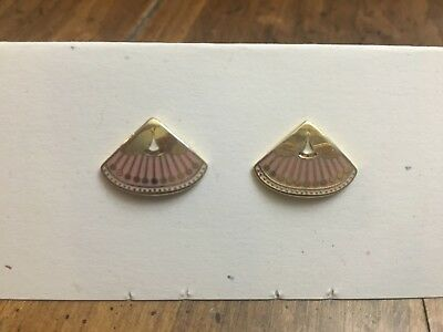 "Laurel Burch ""Catherine"" earrings, pink, white, gold"