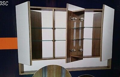 NEW - 1200mm - 3 DOOR MIRRORED SHAVING CABINET with OPEN BOTTOM SHELF