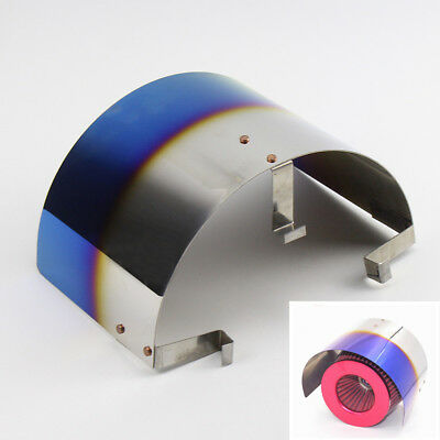 """2.5-3.5"""" Universal Cone Stainless Steel Heat Shield Auto Air Intake Filter Cover"""