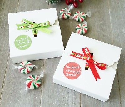 10x Christmas Cookie Boxes Merry XMAS Sweets Truffles Candy Macaron Gift Box