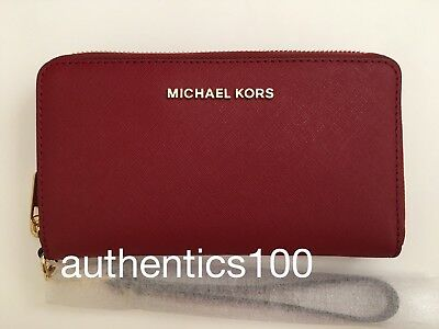 New Michael Kors Jet Set Travel Large Flat Multifunction Phone Case Burnt Red