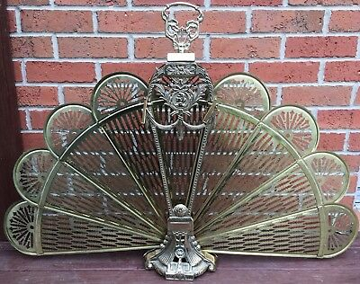 Vintage Antique Ornate Brass Fireplace Folding Fold out Screen Fan Peacock Style