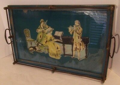 Antique Rectangular Display Tray Teal Blue Colonial Glass Brass Wooden Frame