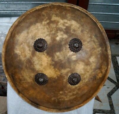 antique big size 24 inch indo Persian mugal leather dhal or shield  not sword