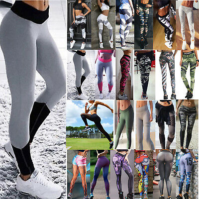 Womens Workout Yoga Gym Fitness Leggings Running Sports Pants Athletic Trousers