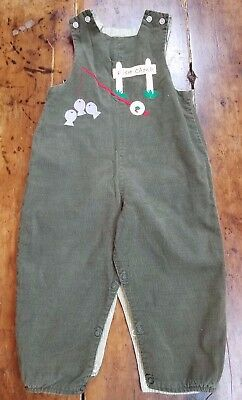 """Bailey Boys Forest Green Corduroy Reversible Longall Romper Sz. 2T """"Fish Camp"""""""