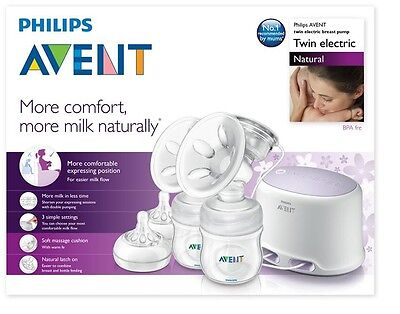 Brand New Philips Avent Natural Breast Pump Twin Electric Scf334/02 Comfort