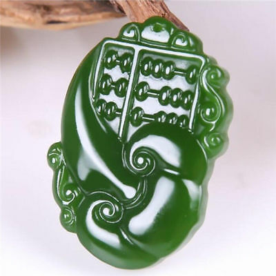 China hand-carved Green jade 精打细算 dragon Phoenix Pendant Necklace Amulet