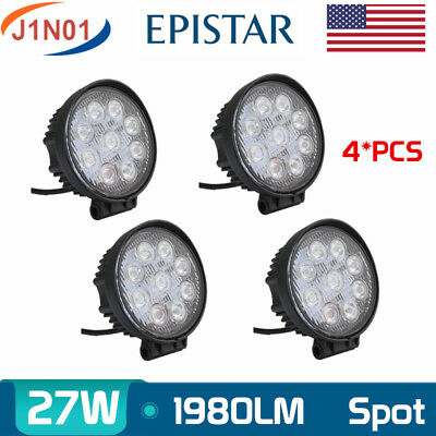 4X 27W Round LED Work Light 4WD Offroad ATV Jeep Spot Lamp SUV 12V24V 6000K Boat