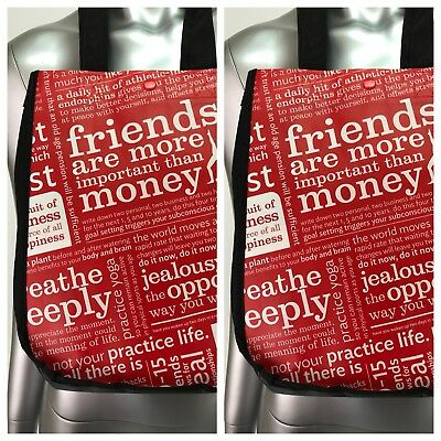 Lot of 2 Lululemon Red White Black Manifesto Bags Small Lunch Tote Reusable