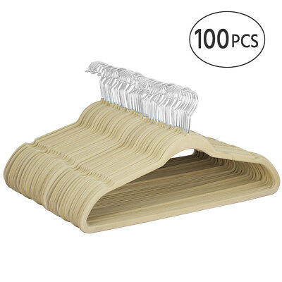 100x Velvet Coat Hangers Flocked Suit Hangers Non Slip 360° Swivel Hook Beige