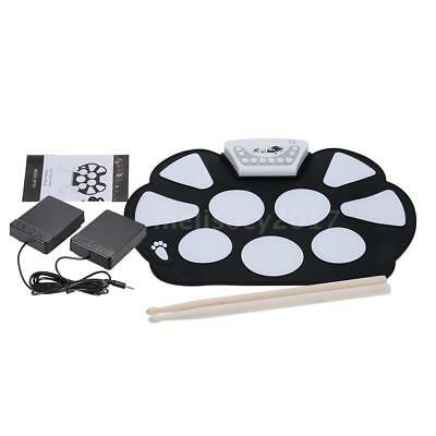 Portable Electronic Roll up Drum Pad Kit Silicon Foldable with Stick Q6L2