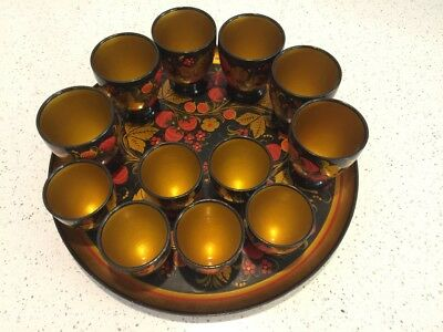 Khokhloma Cups with tray.