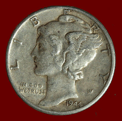 1944-P Mercury 90% Silver Dime Ships Free. Buy 5 for $2 off
