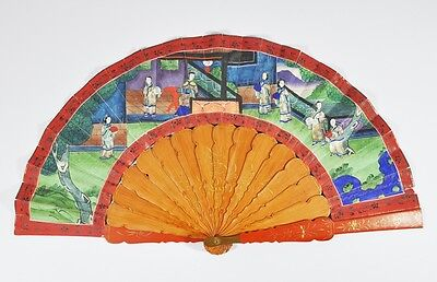 China Chinese Mandarin Fan Lacquered Hand Painting Canton 1000 Face