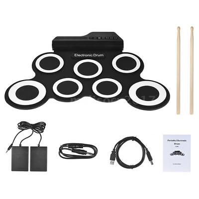 Compact Size Digital Electronic Roll Up Drum Set Kit 7 Silicon Drum Pads G8O1