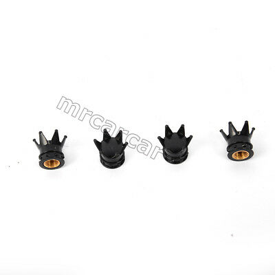 4pc Black Crown Tyre Tire Wheel Valve Stems Air Dust Covers Cap For Ford Ranger