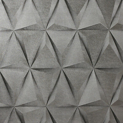 Exclusive 3d Effect Silver Grey Geometric Triangles Vinyl