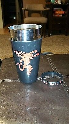 fireball whiskey brand shaker cup and bracelet