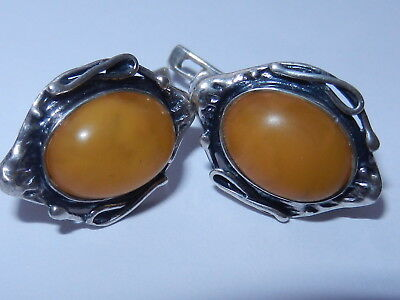 Rare Antique Natural Genuine baltic amber BUTTERSCOTCH EGG YOLK silver earrings