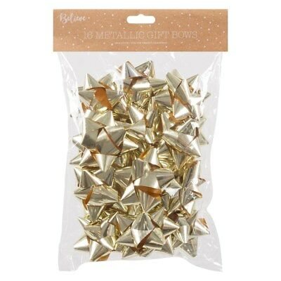 16 X SELF ADHESIVE CHRISTMAS METALLIC FOIL GIFT BOWS  Champagne Gold Design