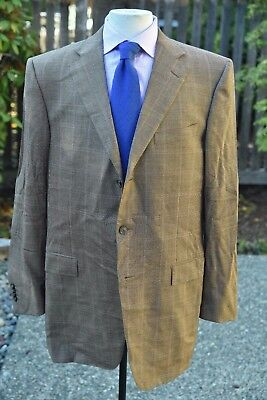 RECENT *ERMENEGILDO ZEGNA* ROMA Multi-Color Plaid Superfine Wool 3/2 Blazer 42