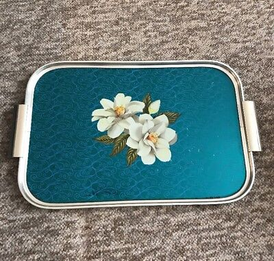 Vintage Retro 1960s Blue Flowers Anodised Ware Tray Cocktail Serving Mid Century