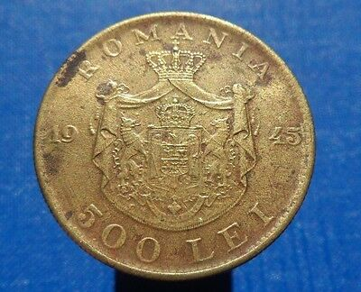 500 lei 1945 Romania Coin Low Shipping! Combine FREE!