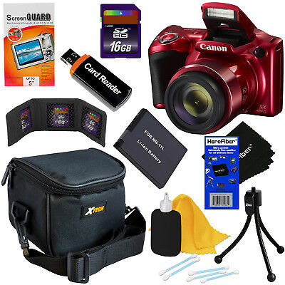 Canon Powershot SX420 IS 20MP 42x Zoom Digital Camera (Red) + Battery + 16GB Kit